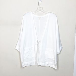 Eileen Fisher White Shrug Cardigan Cover Up